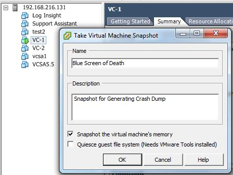 How to Generate Crash Dump for VMware Virtual Machine Guest