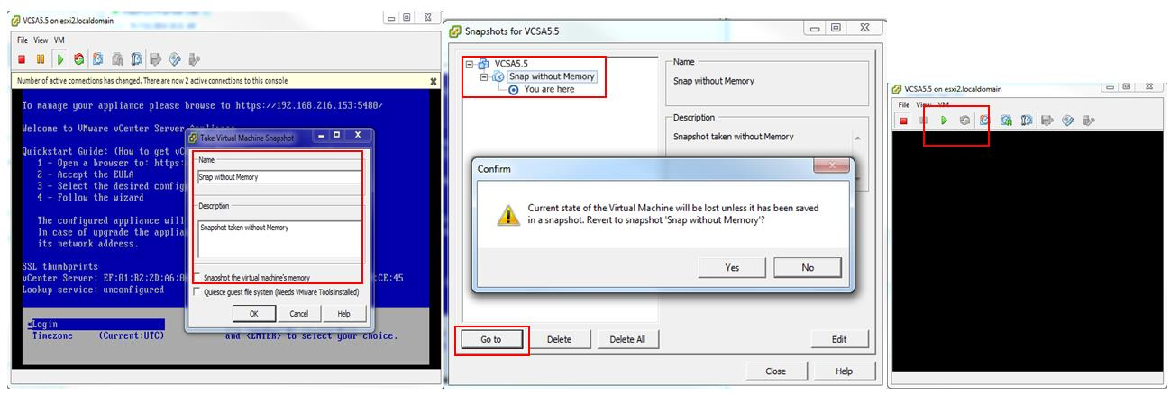 VMware snapshot without Memory