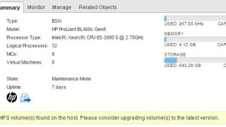 Deprecated VMFS Volumes found on host in ESXi 6.0