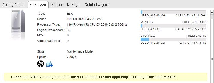 Deprecated VMFS Volumes found on the Host - ESXi 6
