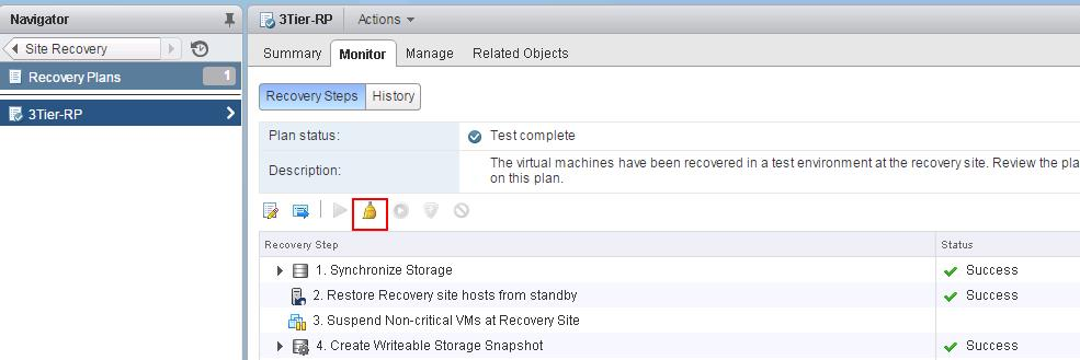 VMware SRM- Running Test Recovery Cleanup_1