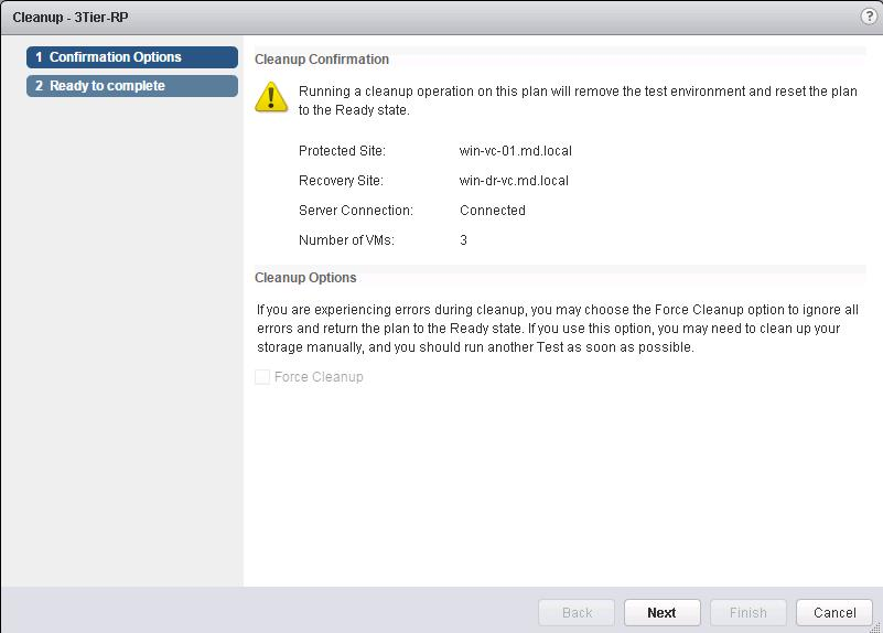 VMware SRM- Running Test Recovery Cleanup_2