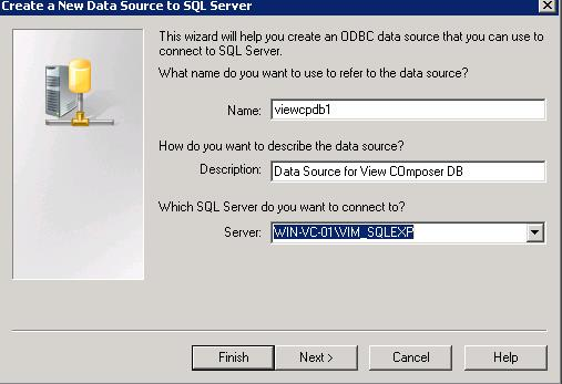 Create ODBC Connection for Horizon View Composer Installation _4