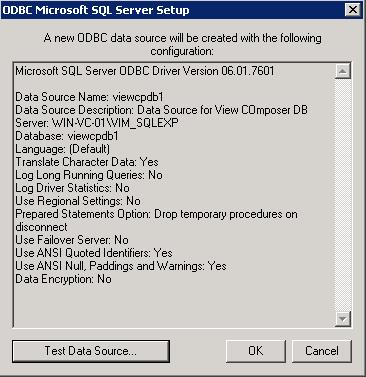 Create ODBC Connection for Horizon View Composer Installation _8