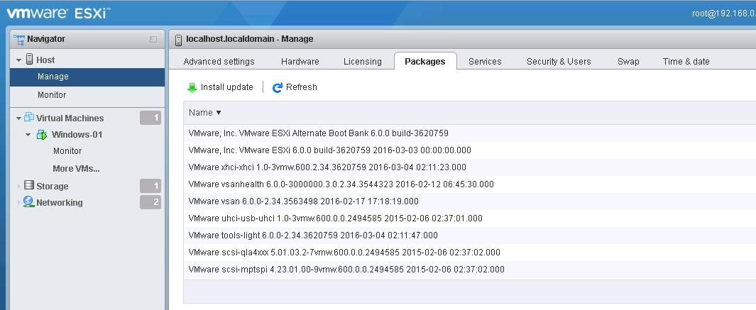VMware Host Client -Manage