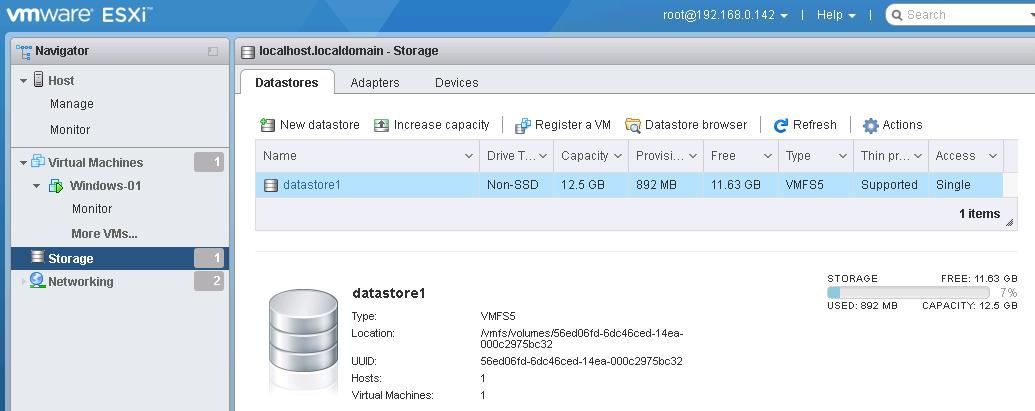 VMware Host Client -Storage view