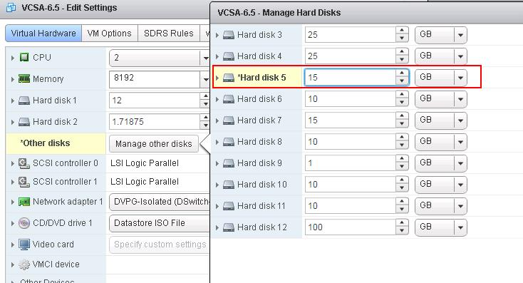 Increase Disk Space on VCSA 6.5_2