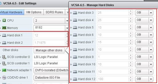 VCSA 6.5 VMDK Partitions & Mount Points