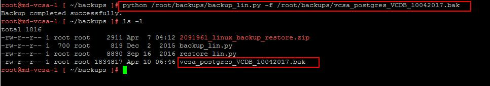 Backup vCenter Appliance 6.5 Embedded Postgres Database_4