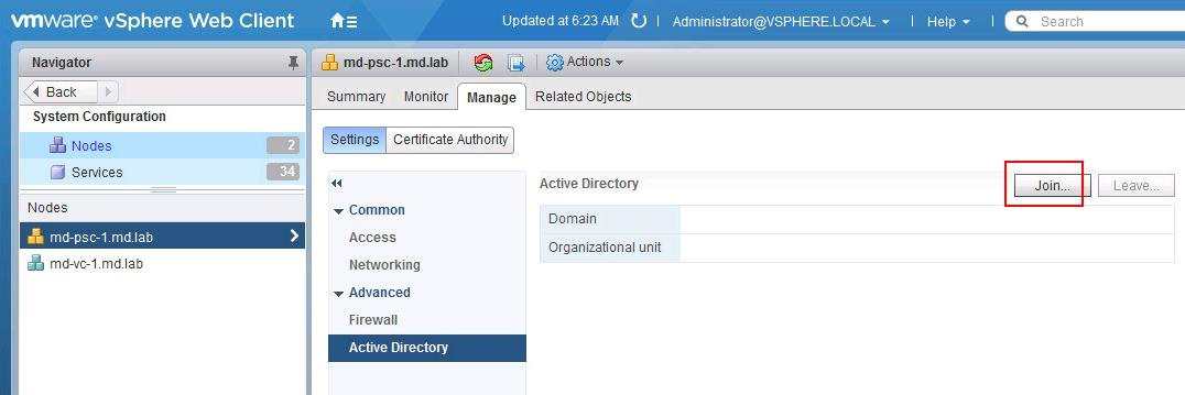 Join VCSA 6.5 to Active Directory Domain
