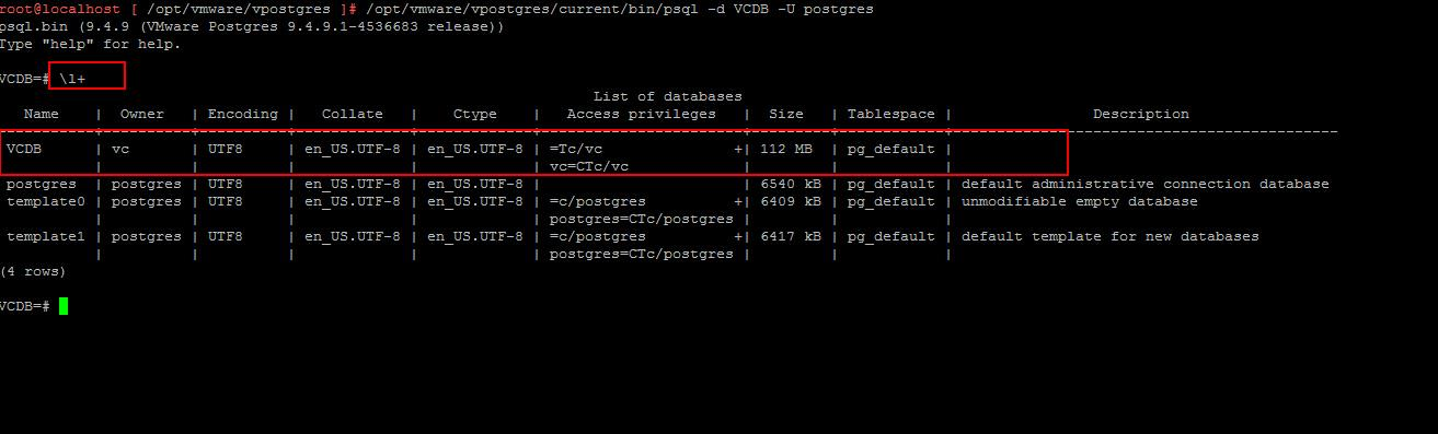 VCSA 6.5 Embedded VPostgres Database_4