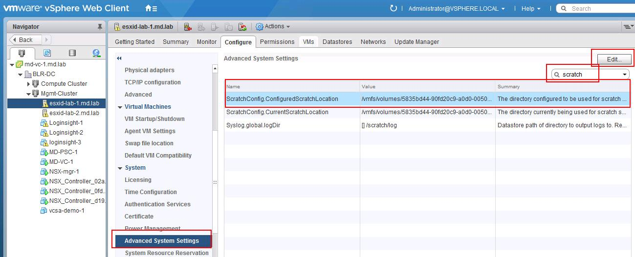 How to Configure Scratch partition in VMware ESXi using Web