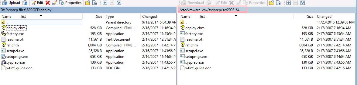 Copy Sysprep files to vCenter Server appliance