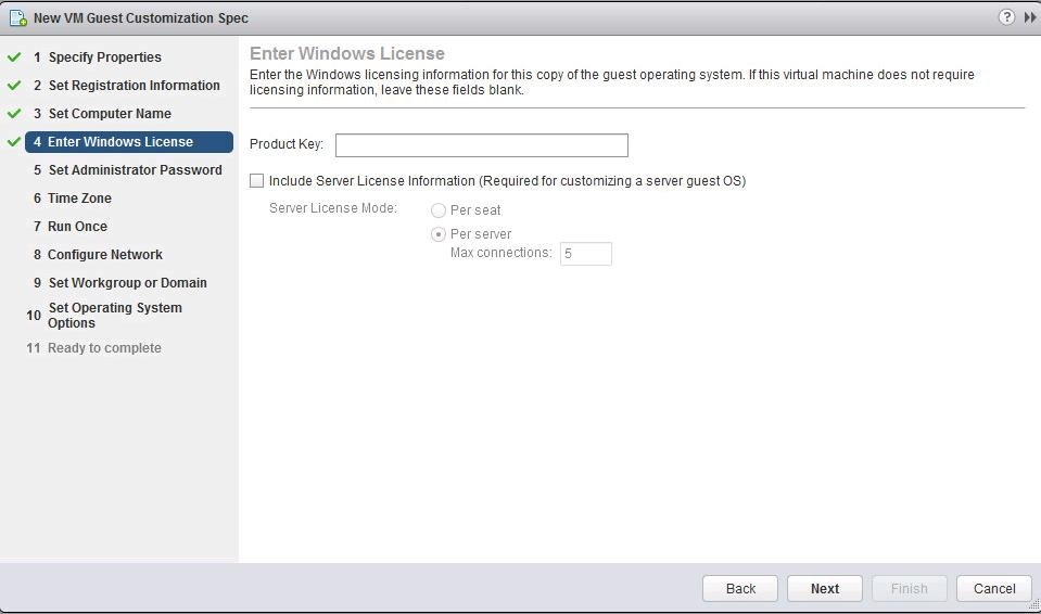 How to Create VMware Guest Customization Specification