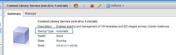 Checking the Service start type in vCenter Server