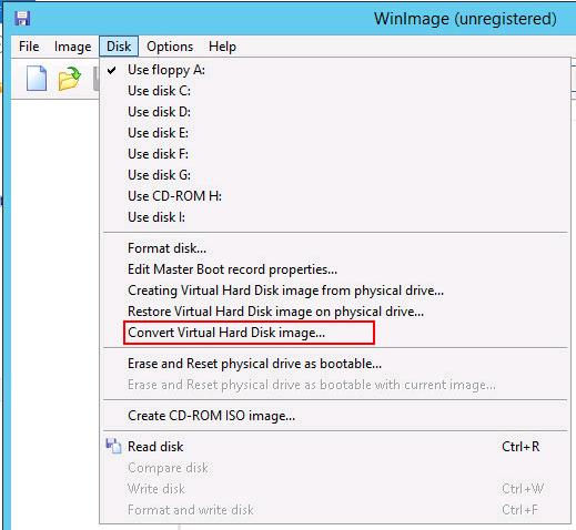 WinImage - Convert Hyper-V to VMware Virtual Machine Disk Format