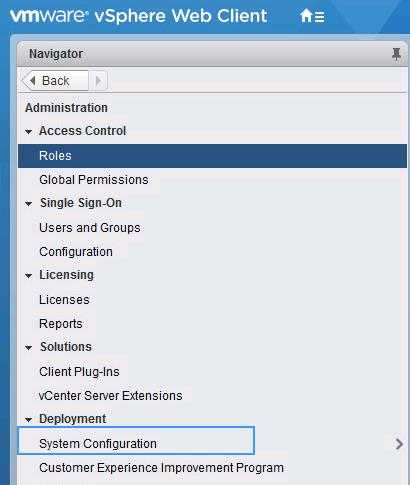 startup setting of services in vCenter Server Appliance