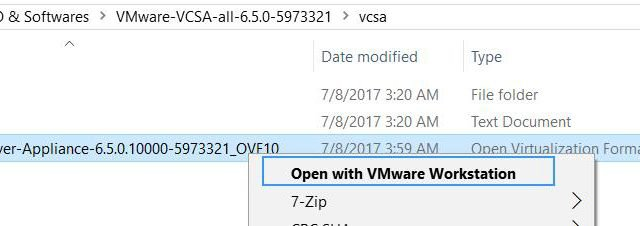 deploy VCSA 6.5 on VMware Workstation 14