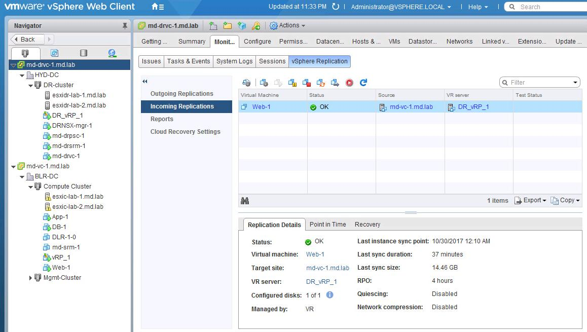 Perform Recovery of the Virtual Machine using vSphere Replication