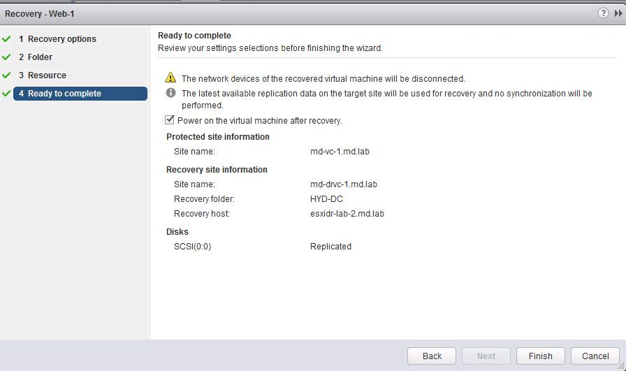 Perform Recovery of the Virtual Machine using vSphere Replication-5