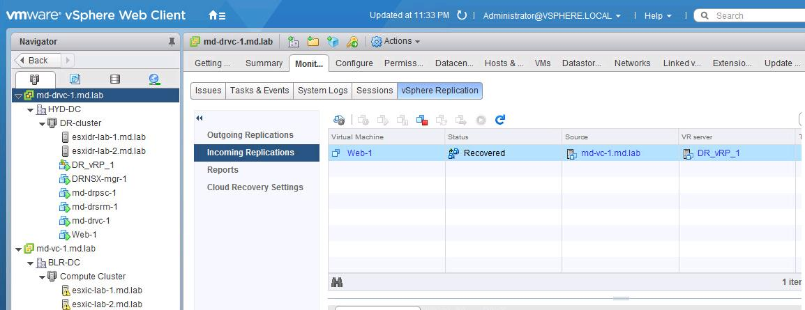 Perform Recovery of the Virtual Machine using vSphere Replication-6