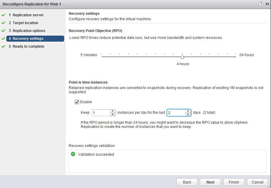 vSphere replication Point-in-time snapshot