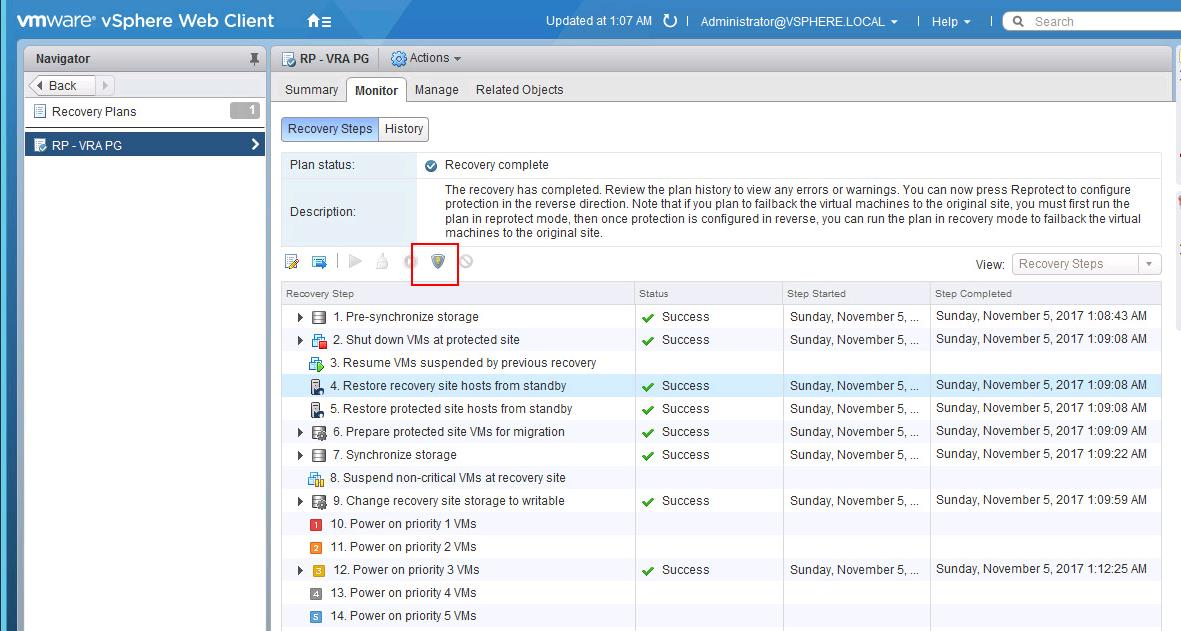How to Perform VMware SRM Reprotect Operation