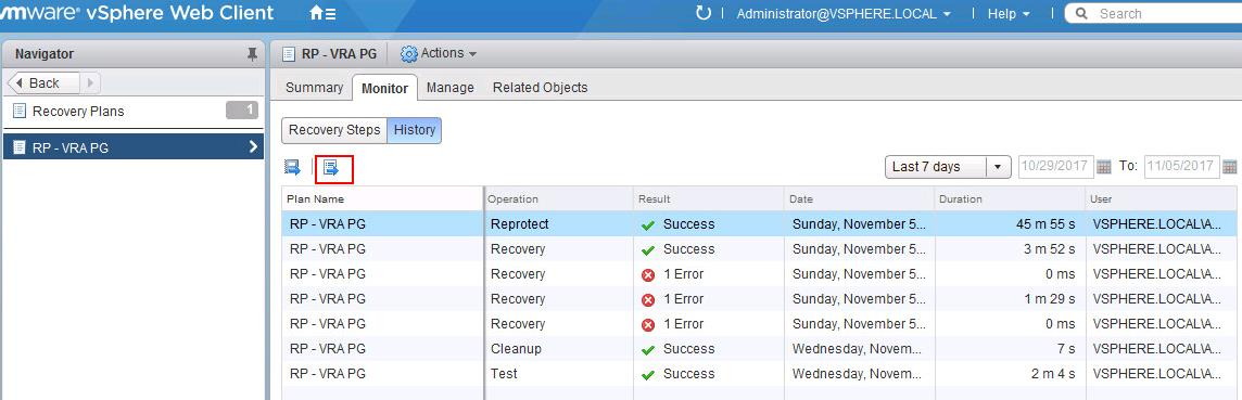 How to Export VMware SRM Recovery Plan History