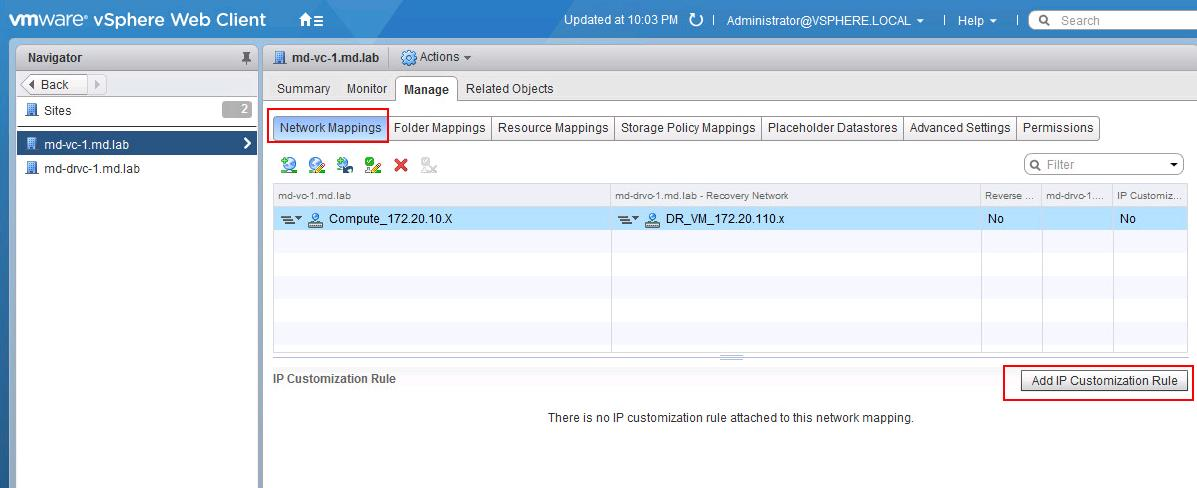 VMware SRM IP Customization Rule