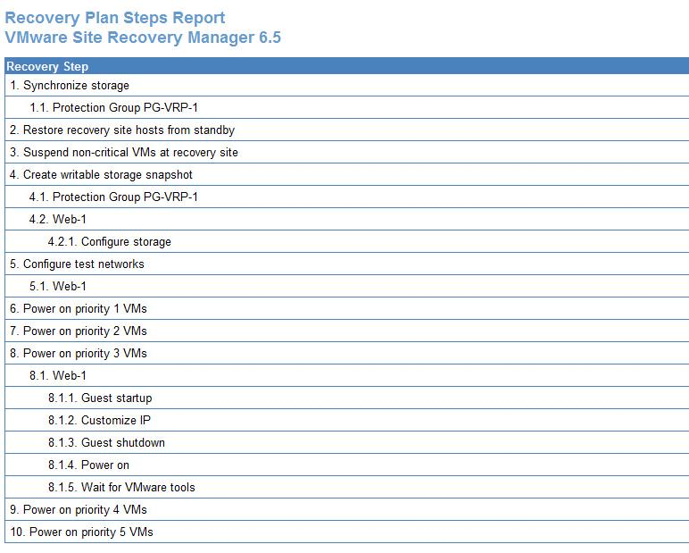 Export VMware SRM Recovery Plan steps