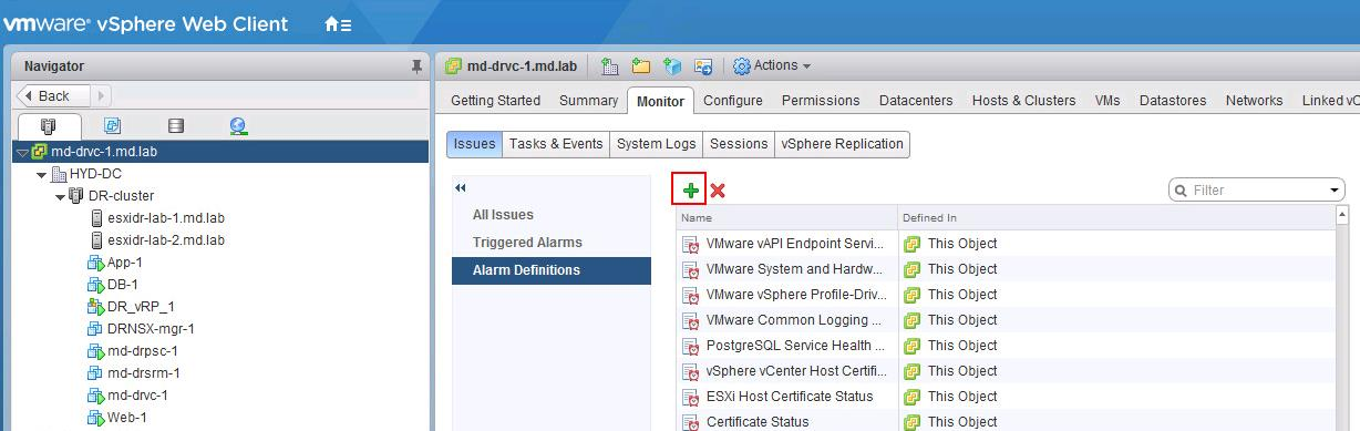 How to Monitor vSphere Replication with vCenter Alarms