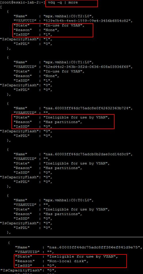 Query Disks for VSAN Eligibility using vdq command
