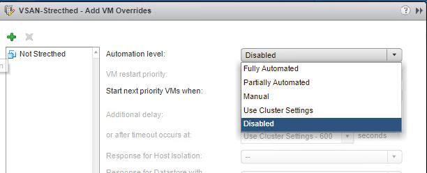 Disable DRS for a VM