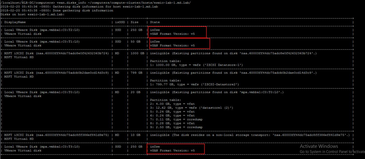 Monitor vSAN Disk using RVC command