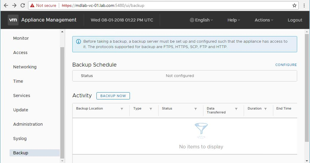 How to Schedule VCSA 6 7 Backup - Feature Overview