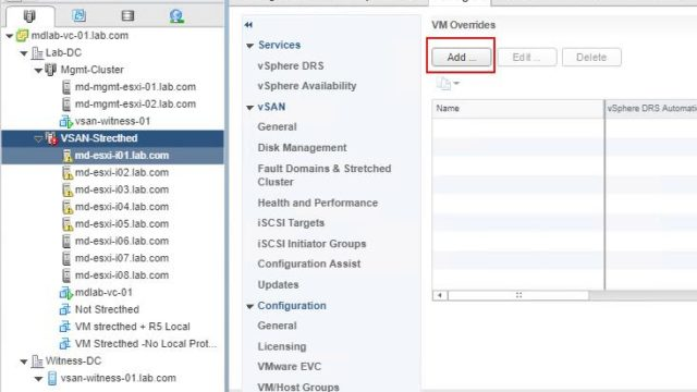 C:\Posts-VMwareArena\VSAN strected\6 Using VM overrides to disable HA for a VM