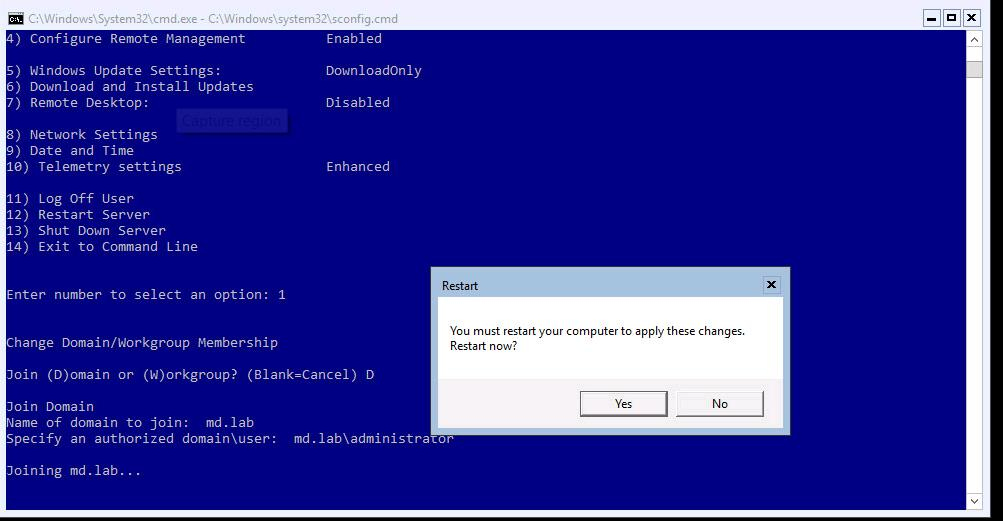 Join the Hyper-V Server into Active Directory Domain